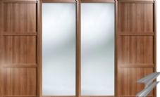 Shaker Style Walnut 2 Panel & 2 Mirror Doors & Track Set to suit an opening width of 3607mm